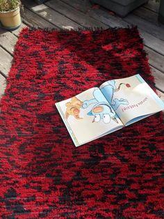 Pendleton Wool Rug Handwoven Red and Black 32x51. $70.00, via Etsy.
