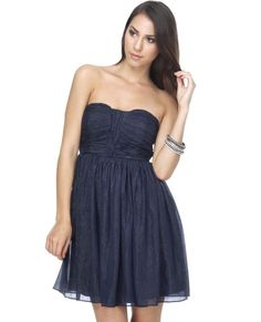 strapless navy blue bridesmaid dress