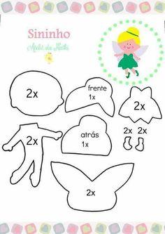fairy doll to sew Paper Piecing Patterns, Felt Patterns, Craft Patterns, Bear Felt, Felt Templates, Applique Templates, Applique Patterns, Card Templates, Felt Fairy