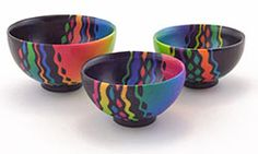 England's Carol Blackburn sent these pictures of her colorful, cheery bowls that will be offered in the silent auction.