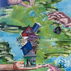 brina schenk painting - hold on - in progress - acrylic on canvas