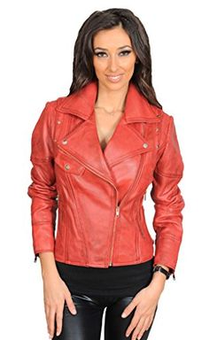 FASHION GOODS Womens Fitted Biker Style Leather Jacket Trendy Zipped Black Red Tan Coat Jess Red Large -- To view further for this item, visit the image link. (This is an affiliate link) Peau Lainee, Coats For Women, Clothes For Women, Biker Leather, Leather Jackets, Red Leather, Lululemon Jacket, Stylish Jackets, Red Blazer