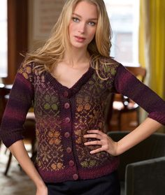 Fair Isle Cardigan Free Knitting Pattern from Red Heart Yarns