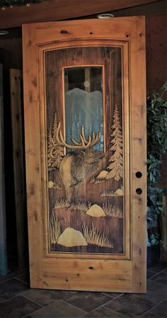 Hand carved to perfection, Great River Door Co. offers beautiful carved wood front doors for homes, lake houses & cabins. Check out our gallery & call today. Unique Front Doors, Yellow Front Doors, Wood Front Doors, Front Door Colors, Rustic Doors, Old Doors, Entry Doors, Custom Wood Doors, Wooden Doors