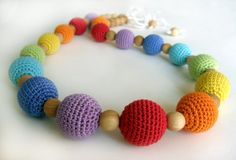 Rainbow nursing necklace - Teething necklace - Breastfeeding Necklace - Crochet Necklace for mom and child - Gift for Babywearing Moms by BestForKids