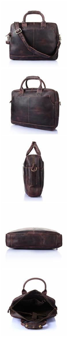 9b94e3d8e92 ROCKCOW Vintage Men's Genuine Leather briefcase 16 inch Big Business  Handbag Cowhide Laptop Handbag Briefcase Messenger