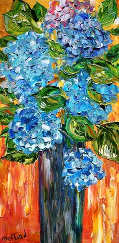 Original oil painting Blue Hydrangeas FLOWERS by Karensfineart