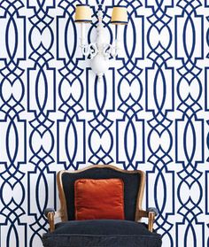 navy bliss - love the wallpaper and chair