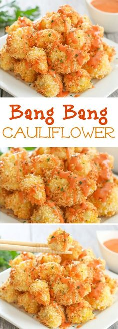 Crispy baked cauliflower bites are drizzled with an addictive and easy bang bang sauce. I've recently become obsessed with bang bang sauce, a creamy… Veggie Recipes, Appetizer Recipes, Cooking Recipes, Recipes Dinner, Beef Recipes, Hamburger Steak Recipes, Vegan Sandwich Recipes, Zone Recipes, Asian Appetizers