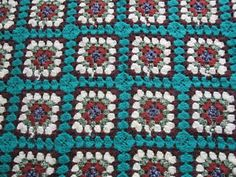 turquoise, red, brown, cream
