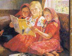 Filles lisant (??) Nikolay Bogdanov-Belsky Russe (1868 - 1945) ?? cm x ?? cm, huile sur toile ??