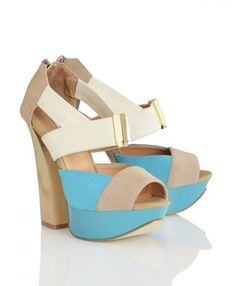 Diane  $69.95    Heel Height  5.00 inches  Platform Height  1.25 inches  Fit  True to size  Materials  Nude/Turquoise faux suede, gold charm detail, chunky high heel