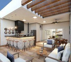 La imagen puede contener: tabla e interior Rooftop Design, Terrace Design, Cabin Design, House Design, Indoor Outdoor Kitchen, Modern Patio, Home Decor Kitchen, Interior Design Living Room, Home And Living