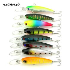 Hot-selling 24pieces/lot 9.1CM/8.3G Minnow Fishing Lures/Baits Plastic Hard baits Multi-Colors 6-41 Free shipping