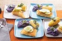 Crispy Cod & Roasted Corn on the Cob with Mashed Purple Potatoes, Marinated Cucumbers & Basil Butter Fish Recipes, Seafood Recipes, Marinated Cucumbers, Sample Recipe, Purple Potatoes, Roasted Corn, Skinny Recipes, Cob, Original Recipe