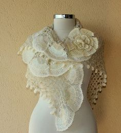 Pearl of Bosphorus/ Crochet Ivory Shawl Stole Wrap