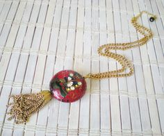 necklace with cloisonne pendant & tassel from retrorevivalboutique on etsy.