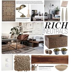 Something not so out there but cool.  Rich Neutrals by emmy on Polyvore featuring interior, interiors, interior design, home, home decor, interior decorating, Visual Comfort, Emile Henry, Pier 1 Imports and Ethan Allen