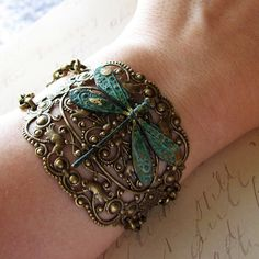 Bracelet Dragonfly Cuff Style - Green Verdigris Patina Charm Ornate Filigree with Chain Big and Bold Statement. $58.00 USD, via Etsy.