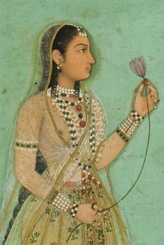 Portrait of a High Caste Woman, classic pose with lotus blossom. Mughal India ca.1640