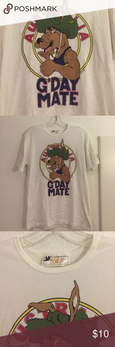 Brand New Vintage Australia White T-shirt Brand New Vintage Australia White T-Shirt. Pictures of condition. Bought online from a collector, All bundles of 2 or more receive 15% off. Closet full of new, used and vintage Vans, Skate and surf companies, jewelry, phone cases, shoes and more. Shirts Tees - Short Sleeve