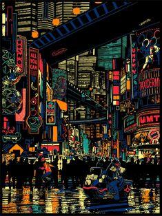 Raid 71 - Urban Sprawl - Judge Dredd Official Print for Vice Press - Geek-Art. Aesthetic Japan, City Aesthetic, Aesthetic Anime, Night Aesthetic, City Wallpaper, Scenery Wallpaper, Poster Cars, Arte 8 Bits, Cyberpunk Kunst