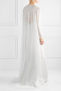 Temperley London - Bellflower Crystal-embellished Silk-chiffon Cape - White - UK10