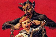 In German-speaking Alpine folklore, Krampus is a horned, beastly figure who  punishes children during the Christmas season who have misbehaved, in  contrast with Saint Nicholas, who rewards well-behaved ones with gifts.  Regions in Austria feature similar figures and, more widely, Krampus is one  of a number of Companions of Saint Nicholas in regions of Europe. The  origin of the figure is unclear; some folklorists and anthropologists have  postulated a pre-Christian origin for the figure…