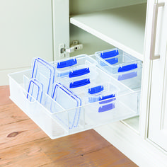 White mesh food organizer + elfa easy glider base for store plastic containers and lids!
