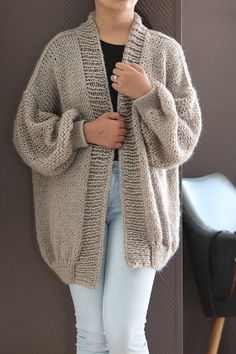 Oversize Chunky Knit Cardigan Loose Knit Beige Gray Knit - Items similar to Oversize Chunky Knit Cardigan, Loose Knit Beige Gray Knit CardiganWith Silver Metallic Thread, Handknit Cardigan Oversized on Etsy Knit Cardigan Pattern, Chunky Knit Cardigan, Oversized Cardigan, Beige Cardigan, Cardigan En Maille, Metallic Thread, Winter Fashion Outfits, Pullover Sweaters, Knitwear