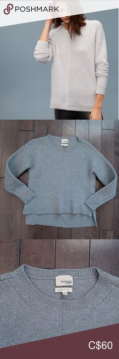 Aritzia Wilfred Free Isabelli Wool Sweater Medium In good preowned condition Some piling Blueish grey colour Aritzia Sweaters Crew & Scoop Necks Blue Grey, Gray Color, Colour, Plus Fashion, Fashion Tips, Fashion Trends, Wool Sweaters, Scoop Neck, Sweaters For Women
