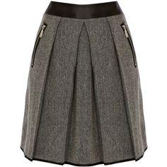 Warehouse Contrast Tweed Skirt, Black ($71) ❤ liked on Polyvore