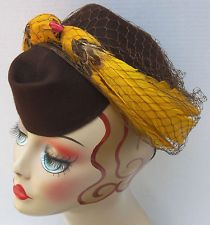 Vtg Antq 1930s Art Deco Wool Felt New York Creation Tilt Top Hat w Feather Birds