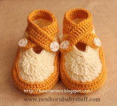 Crochet Baby Booties Crochet Double Strap Baby Booties Pattern 0-4 Months - Tutor...