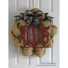 Burlap Front Door Wreath With Bow and Monogram Initials -Damask Ribbon