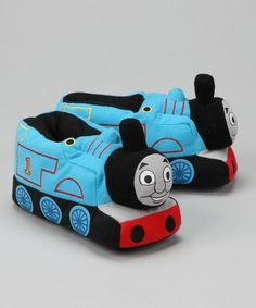 """Take a look at this Blue Thomas the Train Locomotive Slipper by Iconic Characters: Kids' Shoes on #zulily today!~~G has these and loves them--he calls them his """"chuggers"""" :)"""