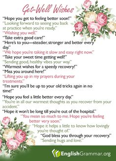 Other ways to say: Get well soon