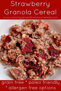 Strawberry Granola Cereal :: Grain Free, Paleo Friendly, Allergen Free Options // deliciousobsessions.com #grainfree #glutenfree #paleo frie...