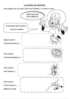 La Catequesis: Recursos Catequesis Parábola del Sembrador Bible Activities For Kids, King James Bible Verses, Catechism, Bible Crafts, Sunday School, Homeschool, Teaching, Education, Makeup Hacks