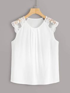 To find out about the Contrast Lace Solid Blouse at SHEIN, part of our latest Blouses ready to shop online today! Blouse And Skirt, Blouse Outfit, Sunmer Dresses, Lace Up T Shirt, African Blouses, Iranian Women Fashion, Couture Tops, Skirt Outfits, Blouse Designs