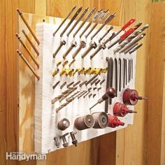 Organize and store all those small shop tools and accessories that clutter your workbench in a chunk of foam insulation. It'll hold drill bits, router bits, screwdriver bits and a host of other little things and keep them close at hand.