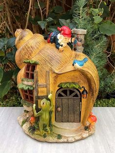 Miniature Dollhouse FAIRY GARDEN ~ Snail GNOME House with Solar Light