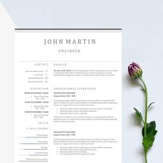 Word Resume & Cover Letter Template by Best_slide on Creative Market College Resume Template, Resume Cover Letter Template, Letter Template Word, Best Resume Template, Cv Template, Design Templates, Resume Words Skills, Resume Writing Tips, Resume Tips