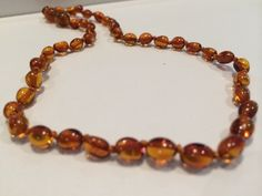 Polished Cognac Bean Pop Clasp Baltic Amber Necklace for Baby, Infant, Toddler, Big Kid.