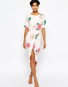 Image 1 ofASOS Occasion Wiggle Dress In Floral Print With Wrap Front