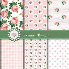 Roses - Pink Digital Papers - DIY - Decoupage - Scrapbooking - Cardmaking - Collage Sheet - 1613
