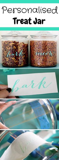 Personalised Treat Jar This Easy DIY Pet Food Labels tutorial by The Shabby Creek Cottage will help you make ordinary food storage jars stand out with elegance in your kitchen. Get the tutorial here.