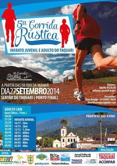 5ª Corrida Rústica Infanto Juvenil e Adulto do Taquari A partir das 8:00 da manhã dia 27 de Setembro.  #CorridaRústica #corrida #maratona #esporte #cultura #turismo #Paraty #PousadaDoCareca
