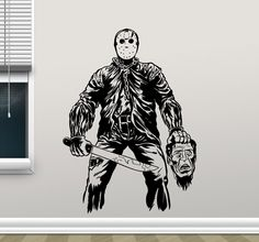 Jason Voorhees Decal Friday The 13 Movie Maniac Scary Vinyl Sticker Living Room Wall Art Decor Mural Interior Design Graphics 92zzz