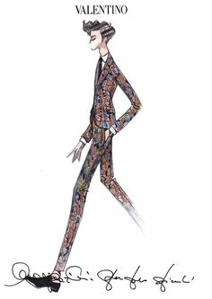 Mika in Valentino: Did you know this print was originally from. Illustration Meaning, Man Illustration, Sketches Of Love, Man Sketch, Clothing Sketches, Guy Drawing, Drawing Ideas, Valentino Women, Fashion Sketchbook